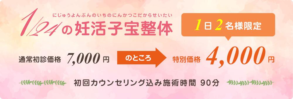 1日2名様限定特別価格4,000円